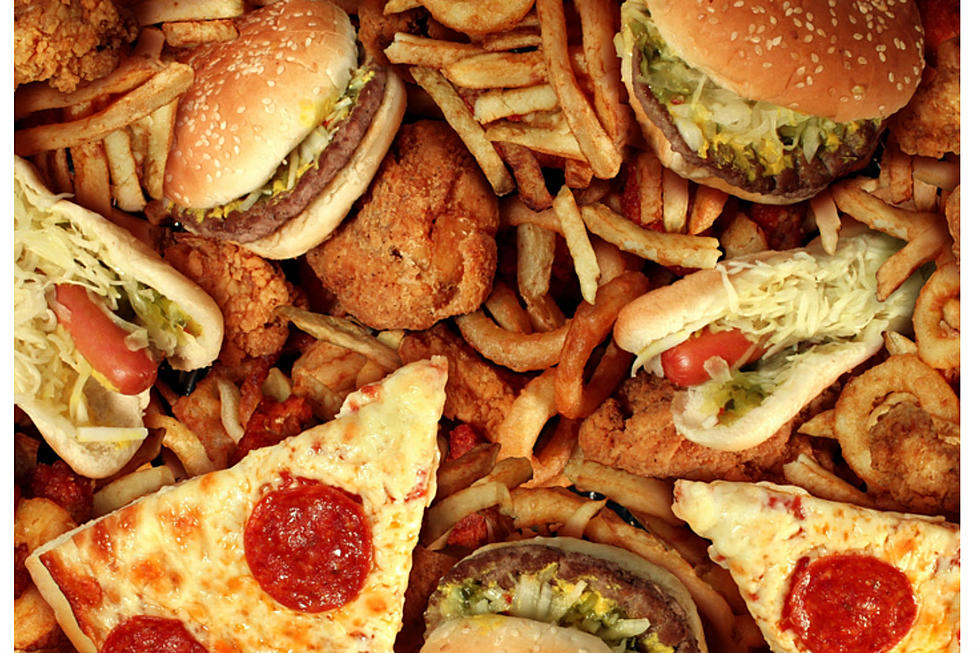 Picture of burgers fries and pizzas