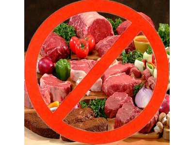 A picture showing a no sign to red meats