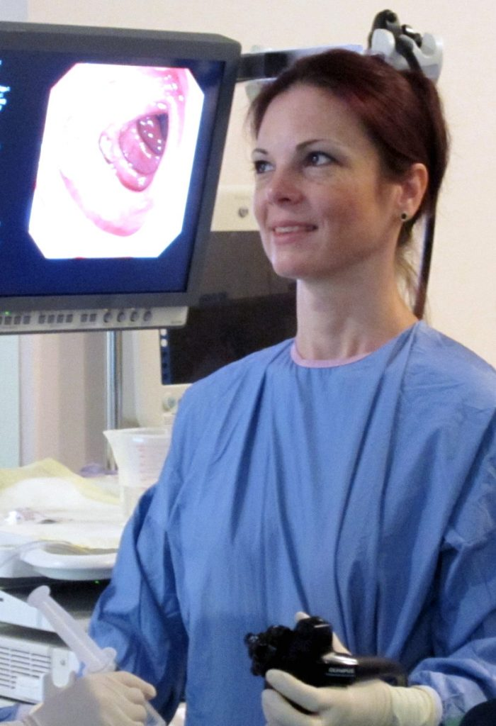 Dr. Andrea Rajnakova performing colonoscopy