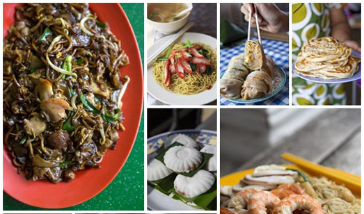 Picture of many different kinds of hawker food in singapore