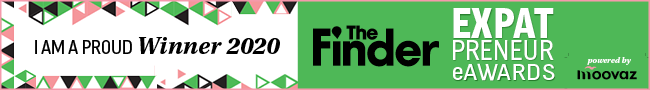 "Banner of ""I AM A PROUD Winner 2020"" The Finder - EXPAT PRENEUR eWARDS"