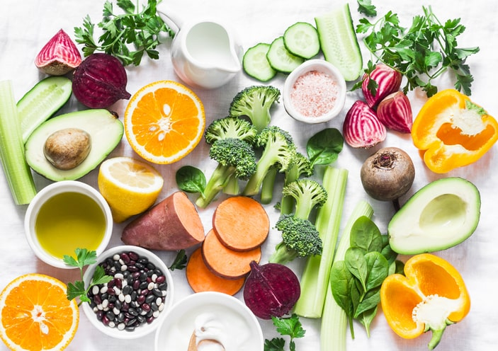 Picture of many different type of healthy fruits and vegetables