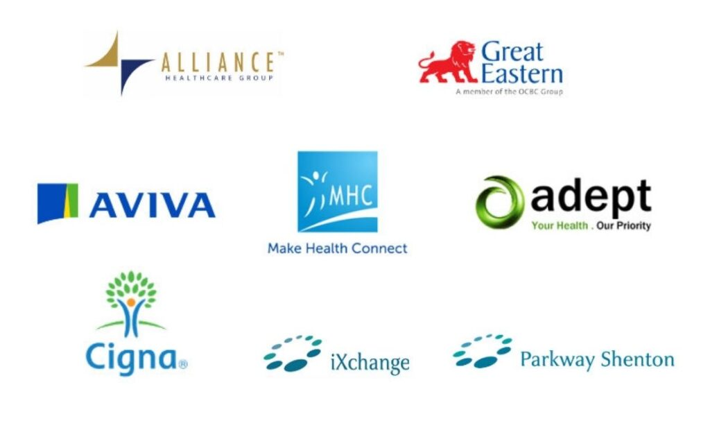 Logo of: Alliance, Great Eastern, Aviva, MHC, adept, Cigna, iXchange and Parkway Shenton